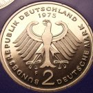 Gem Cameo Proof Germany 1975-F 2 Marks~Konrad Adenauer~43k Minted~Free Shipping