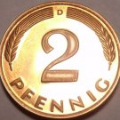 Cameo Proof Germany 1975-D 2 Pfennig~Minted In Munich~43,000 Minted~Free Shi
