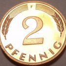 Cameo Proof Germany 1975-F 2 Pfennig~Minted In Stuttgart~43,000 Minted~Free Shi