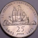 Gem Unc Saint Helena 1973 25 Pence~Sailing Ship~Tercentenary~Only Coin Made~Fr/S