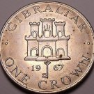 Large Gibraltar 1967 Crown~Queen Elizabeth II~Castle~Free Shipping