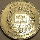 Rare Gem Unc Gibraltar 1977 25 Pence~65k Minted~Queens Silver Jubilee~Ape's~Fr/S