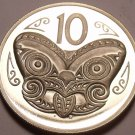 Rare Cameo Proof New Zealand 1973 10 Cents~8,000 Minted~Maori Mask~Free Ship