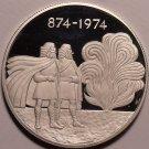 Rare Silver Proof Iceland 1974 1000 Kronur~1100th Anniv~Settlement~41k Minted~FS