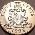 Rare Large Gem Unc Bermuda 1986 50 Cents~60,000 Minted~National Arms~Free Ship