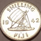 Gem Unc Silver Fiji 1942-S Shilling~King George VI~Sailing Ship~Free Shipping