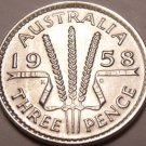Gem Unc Silver Australia 1958 3 Pence~Excellent~Free Shipping