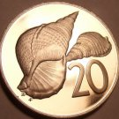 Large Rare Proof Cook Islands 1976 20 Cents~Pacific Triton Shell~18k Minted~Fr/S