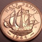 Unc Great Britain 1964 Half Penny~The Golden Hind~Fantastic~Free Shipping