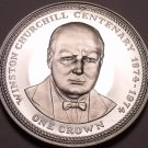 Silver Proof Isle Of Man 1974 Crown~Winston Churchill~Only 30,000 Minted~Fr/Ship