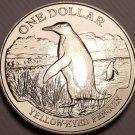 Rare Gem Unc New Zealand 1988 Dollar~45,000 Minted~Yellow-Eyed Penguin~Free Ship
