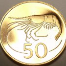 Rare Proof Iceland 1981 50 Aurar~Only 15,000 Minted~Northern Shrimp~Free Ship