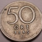 Silver Sweden 1946-G 50 Ore~See All Our Silver~Free Shipping