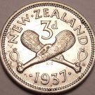 Gem Unc Silver New Zealand 1937 3 Pence~1st Year Ever Minted This Type~Free Ship