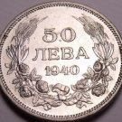 Gem Unc Bulgaria 1940-A 50 Leva~1st Year Ever Minted~Minted In Berlin~Free Ship