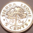 Rare Proof Sierra Leone 1964 5 Cents~10,000 Minted~Awesome Tree~Free Shipping