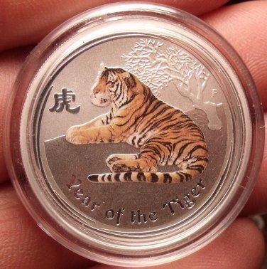 Gem Unc Silver Australia 2010 50 Cents~Lunar Year Of The Tiger~Fantastic~FR/Ship