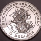 Cameo Silver Proof Bahamas 1992 $5 Discover Of The New World~25,000 Minted~Fr/Sh