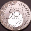 Rare Cameo Silver Proof Netherlands 1987 50 Gulden~52,872 Minted~Wedding~Fr/Ship