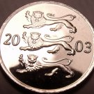 Gem Unc Estonia 2003 20 Senti~Three Lions Stacked~Excellent~Free Shipping
