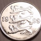 Gem Unc Estonia 1999 20 Senti~Three Lions Stacked~Excellent~Free Shipping