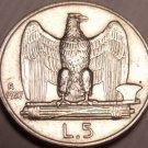 Rare Italy Au Silver 1927-R 5 Lire~Vittorio Emanuele III~Minted In Rome~Free Shi