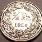 Gem Unc Silver Switzerland 1958-B Half Franc~Helvetia with Lance and Shield~Fr/S