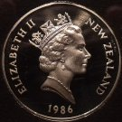 Rare Cameo Proof New Zealand 1986 50 Cents~10,000 Minted~H.M.S. Endeavour~Fr/Shi