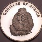 Silver Proof Uganda 2003 1,000 Shillings~Female Gorilla With Infant~Free Ship