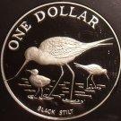 Rare Cameo Proof New Zealand 1985 Dollar~25,000 Minted~Black Stilt~Free Shipping