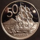 Rare Cameo Proof New Zealand 1985 50 Cents~12,000 Minted~H.M.S. Endeavour~Fr/Shi
