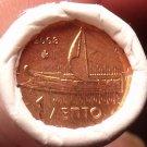 Gem Unc Original Roll (50) Greece 2003 1 Euro Cents~Ancient Athenian Trireme~F/S