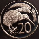 Rare Cameo Proof New Zealand 1986 20 Cents~10,000 Minted~Kiwi Bird~Free Shipping