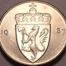Gem Unc Norway 1987 50 Ore~Crowned Shield~Excellent~Free Shipping*