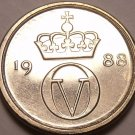 Gem Unc Norway 1988 10 Ore~Crowned Monogram~Free Shipping*