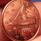 Gem Unc Greece 2013 1 Euro Cent~Ancient Athenian Trireme~Minted In Athens~Fr/Shi