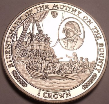 Gem Unc Isle Of Man 1989 Crown~Mutiny On The Bounty~Captain Bligh & Crew~Fr/Ship