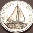 Rare Proof Bahamas 1970 25 Cents~Bahamian Sloop~Only 23,000 Minted~Free Shipping