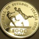 Rare Silver Proof St. Thomas & Prince Island 1990 1,000 Dobras~15,000 Minted~F/S