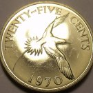 Rare Proof Bermuda 1970 25 Cents~11,000 Minted~1st Year Ever~Tropical Bird~Fr/Sh