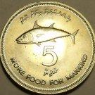 Rare Gem Unc Maldive Islands AH-1397 1977 F.A.O. Issue 5 Rufiyaa~Bonito Fish~F/S