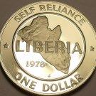 Rare Proof Liberia 1978 Dollar~7,311 Minted~Edge Incription~Map With Stars~Fr/Sh