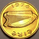 Gem Unc Ireland 1976 Penny~Irish Harp~Bird From The Book Of Kells~Free Shipping