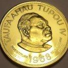 Rare Gem Unc Tonga 1968 Panga~Taufa'ahau Tupou IV~3k Minted~Gold Plated~Free Shi