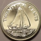 Rare Proof Bahamas 1977 25 Cents~11,000 Minted~Bahamian Sloop~Free Shipping