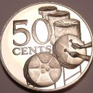 Rare Proof Trinidad & Tobago 1973 50 Cents~Kettle Drums~20,000 Minted~Free Ship