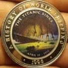 Proof Somalia 1998 25 Shillings~The Titanic Sinks April 15, 1912~Multicolored~FS