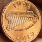 Gem Unc Ireland 1998 Penny~Irish Harp~Bird From The Book Of Kells~Free Shipping