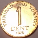 Rare Proof Trinidad & Tobago 1973 Cent~Last Year~Only 20,000 Minted~Free Ship