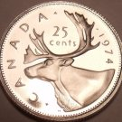 Proof Canada 1974 25 Cents~Caribou Quarter~213,589 Minted~Excellent~Free Ship